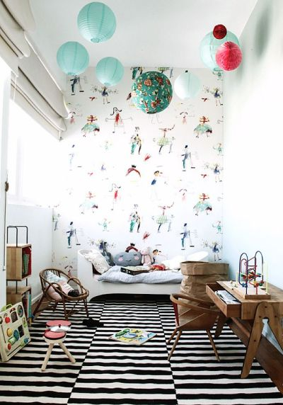 1000+ ideas about Kids Room Wallpaper on Pinterest | Chic nursery, Baby girl wallpaper and ...