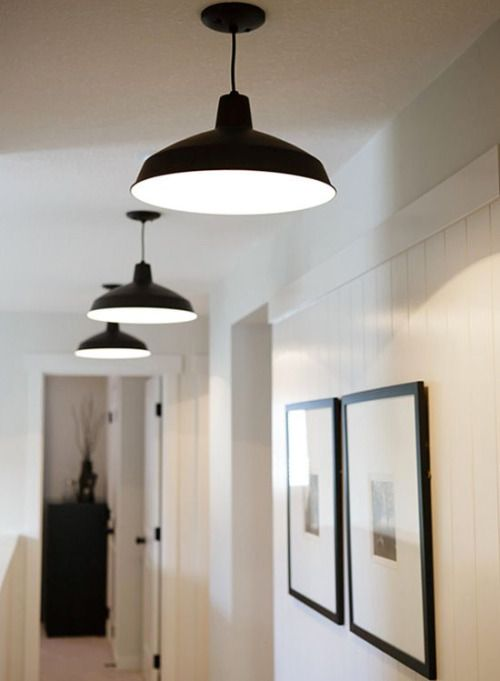 hallway lighting love the clean simplicity warehousebarn pendant and set of thin black framed prints with large white matting image