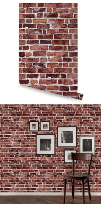 Brick Red Peel and Stick Wallpaper - Wall Sticker Outlet | Peel And Stick Wallpaper | Pinterest ...