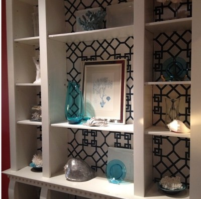 Wallpaper behind shelves in built in bookcase.   Shelves   Pinterest   Shelves, Bookcases and ...