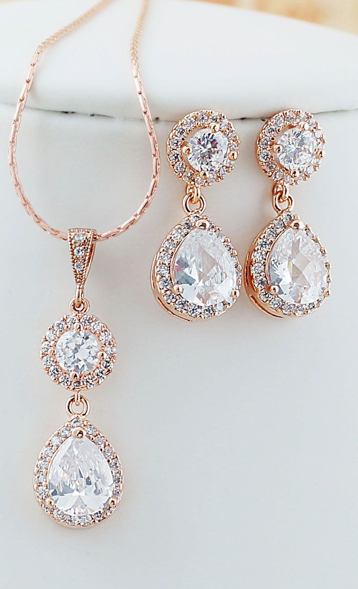 gold bridal jewellery sets wedding jewelry sets Luxury cubic zirconia Rose Gold Bridal Jewelry set from EarringsNation rose gold weddings blush weddings pink