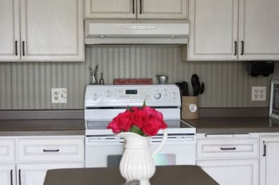 Cheap backsplash - $12 roll of paintable beadboard wallpaper | home | Pinterest | Countertops ...