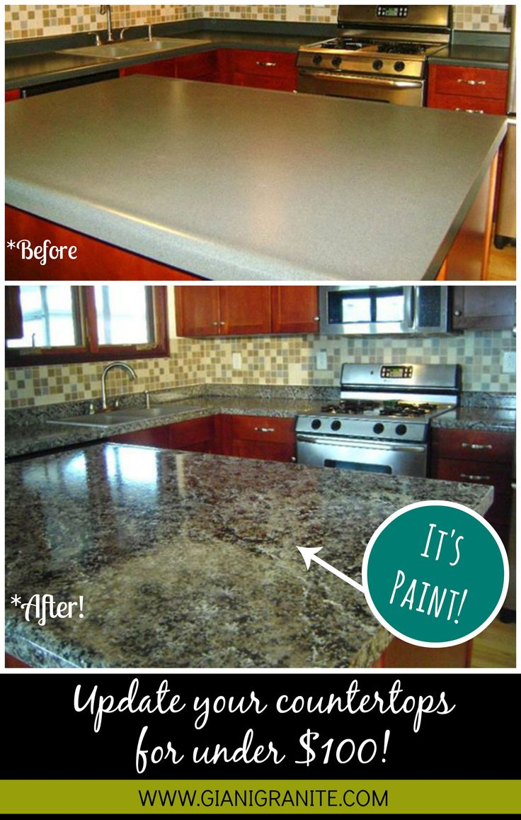 kitchen counter top affordable kitchen countertops Affordable countertop makeover Paint that looks like granite DIY www gianigranite