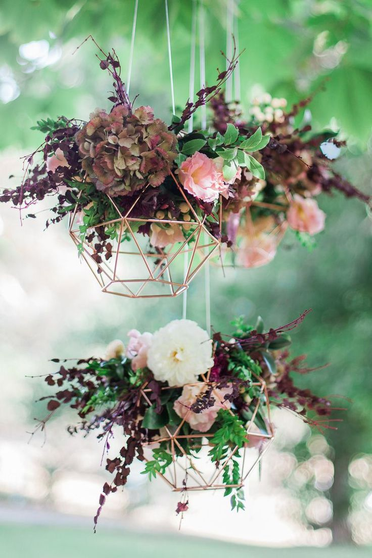 hanging wedding decorations wedding supplies Geometric Wedding Inspiration in Burgundy and Gold