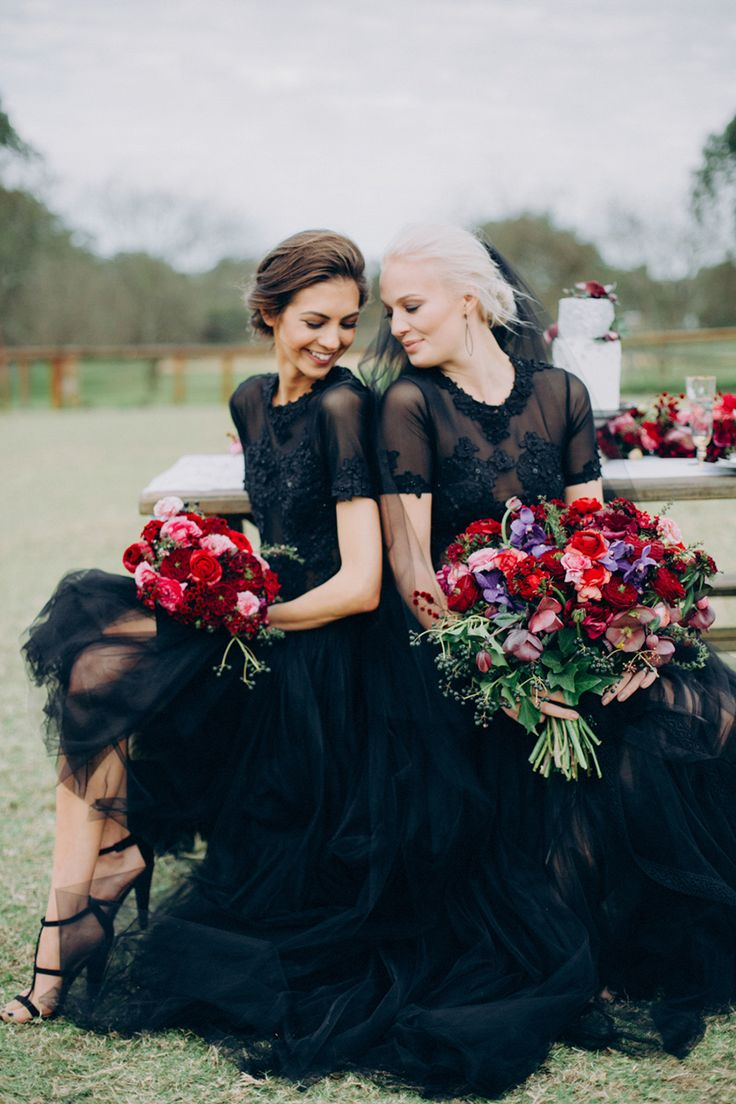 black weddings black wedding dress Black Tie and Berry Toned Styled Shoot on a Cuddly Animal Farm Black wedding gowns