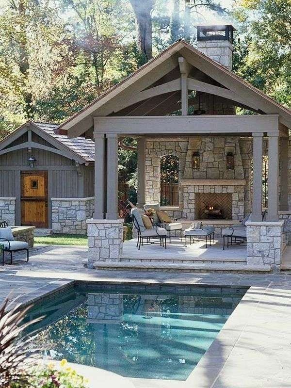 backyard design outdoor kitchen pool house small inground swimming pools f