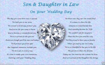 SON & DAUGHTER IN LAW- Wedding Day (Poem gift) | Wedding ...