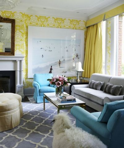 coral yellow green with gray couch   yellow damask wallpaper living room blue carpet rug sofa ...