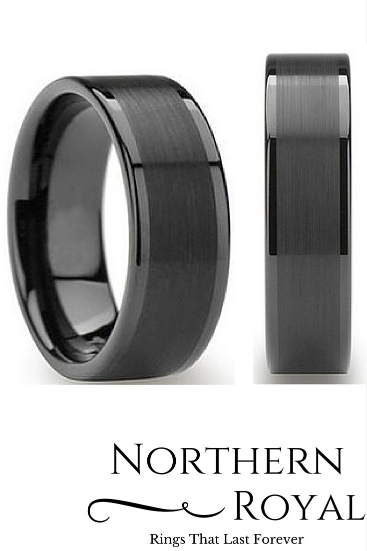 were lifers mens firefighter wedding bands Mens 8mm Black Tungsten Wedding Ring with a Brushed Center