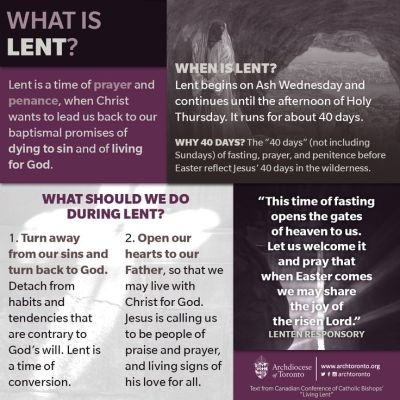 The season of prayer and penance begins today. Learn more about #Lent. http://www.archtoronto ...