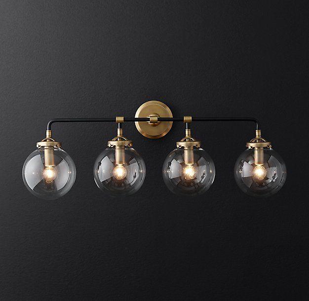 Contemporary Designer Bathroom Light Fixtures Rh Bistro Globe Bath Sconce By Industrialism And Inspiration