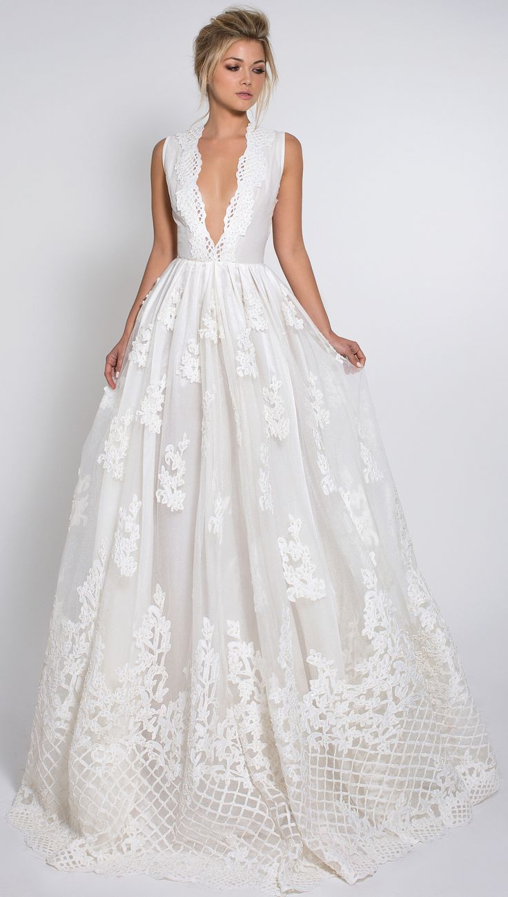 wedding dresses with pockets silk wedding dresses Romantic embroidered silk and lace wedding dress with deep v neckline