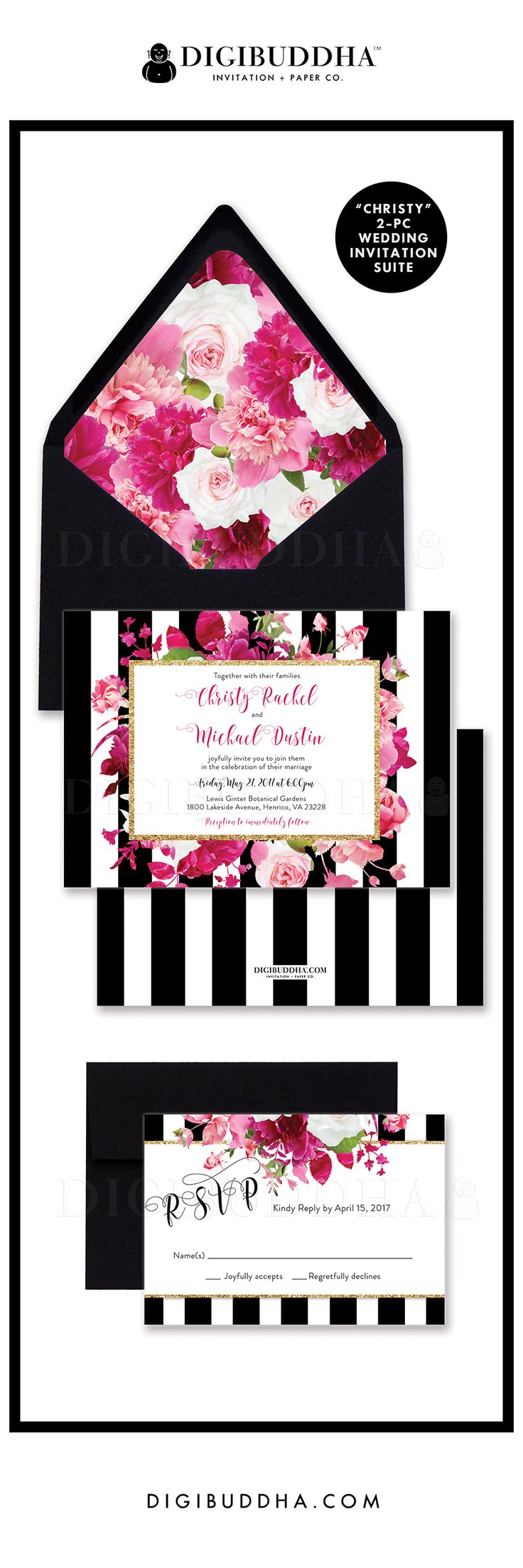 bling invitations bling wedding invitations Modern and elegant black and white striped 2 piece wedding invitations including a invitation