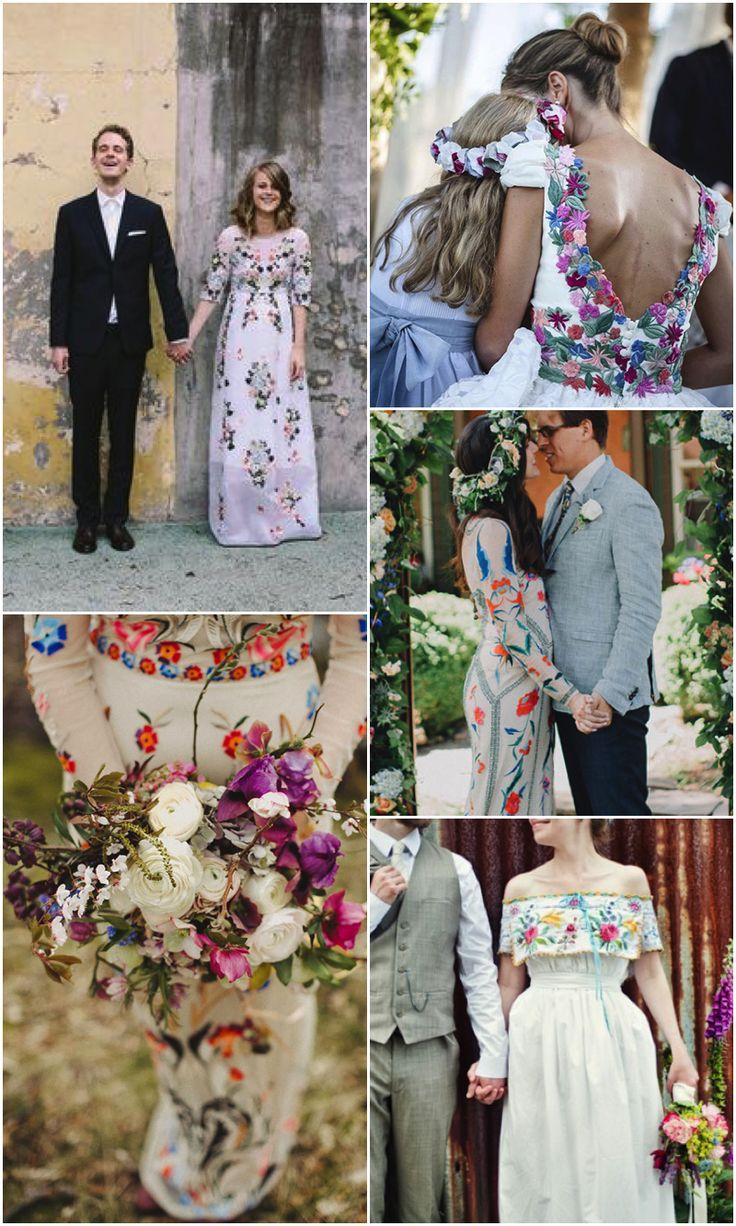 vintage mexican wedding mexican wedding dress Vestidos de novia con bordados llenos de color Colourful embroidered wedding dresses