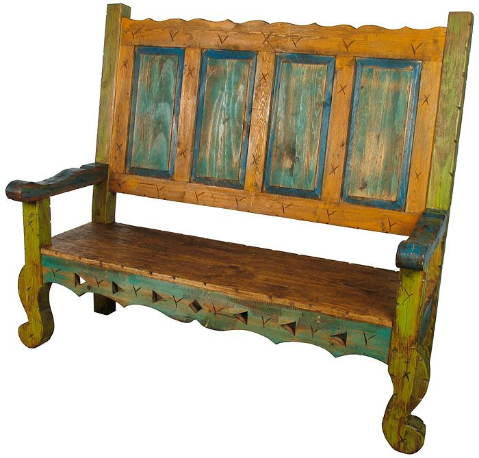 mexican painted wood captainu0027s bench our collection of unique rustic and benches image furniture