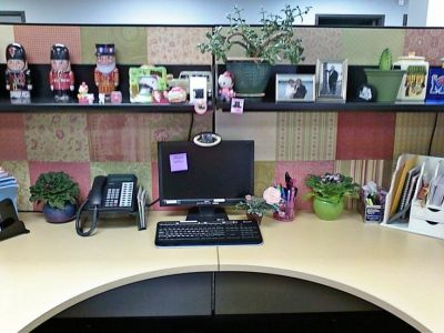 This lady decorated the walls of her cubicle with scrapbook paper. I think it made it sleek and ...