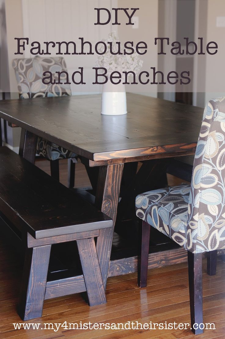 table and bench set kitchen table with benches My 4 Misters Their Sister DIY Handmade Farmhouse Table and Benches