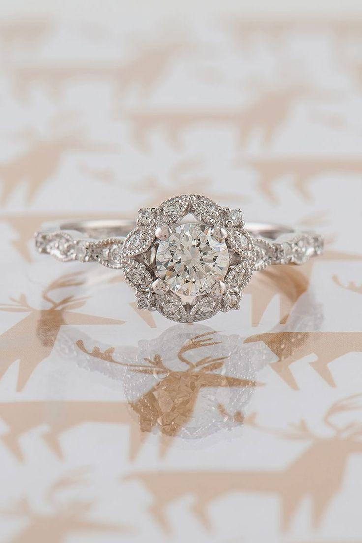 wedding ring workout wedding rings Round Halo Vintage Diamond Engagement Ring