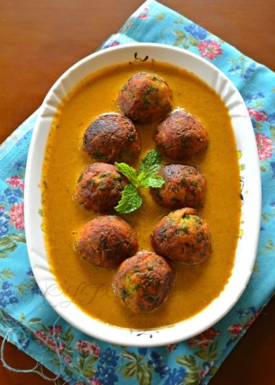 Palak Kofta Curry - Low Fat version | Spinach, Cream and As