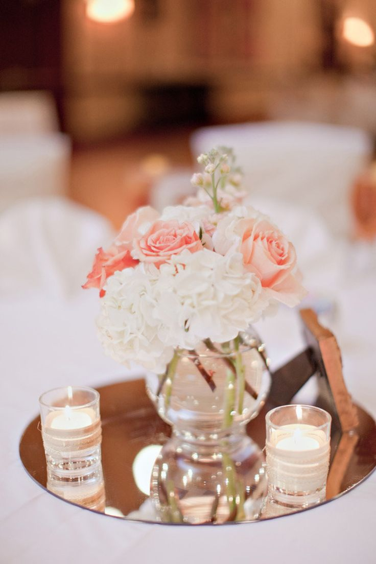 small wedding centerpieces centerpieces for wedding Blush Wedding like the idea of a mirror underneath centerpiece flowers