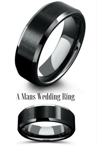 modern mens wedding bands male wedding bands 8mm Mens Black Tungsten Wedding Ring With Matte Center