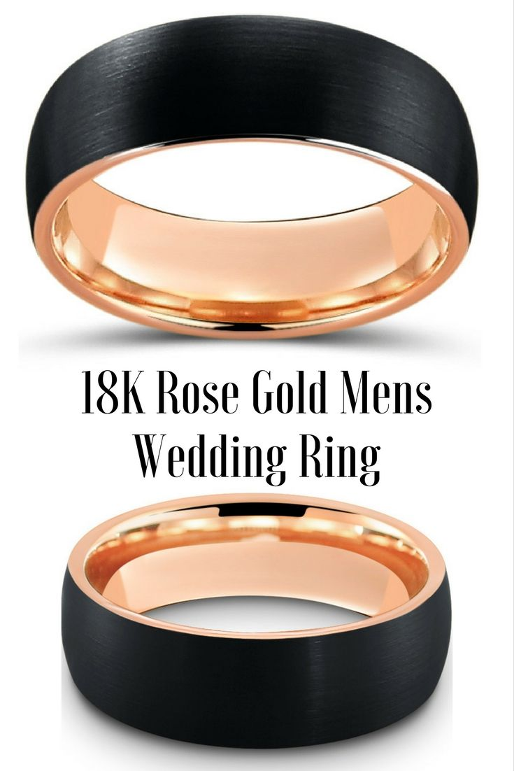 tungsten wedding rings mens firefighter wedding bands Black Brushed Tungsten Ring With Rose Gold Interior Tungsten Wedding RingsMen
