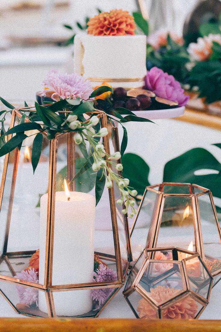 wedding table decorations wedding decor Copper wedding cake copper wedding decor terrarium wedding hailleyhoward cargo creative 24carrotscatering