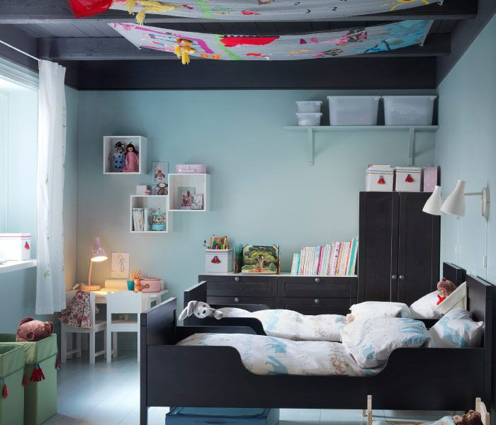 black bed with white furniture view gallery
