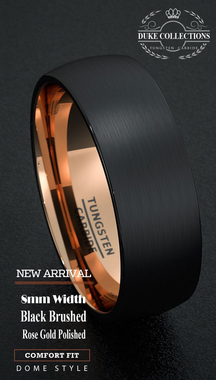 tungsten wedding rings mens firefighter wedding bands Tungsten Wedding Band Black Men s Ring 8mm Gold Inside Matted Brushed Surface Do