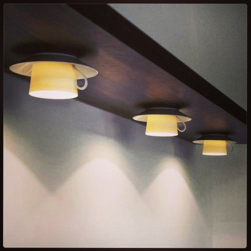 i love the idea of using coffee cups as a source lighting itu0027s cafe ideas s