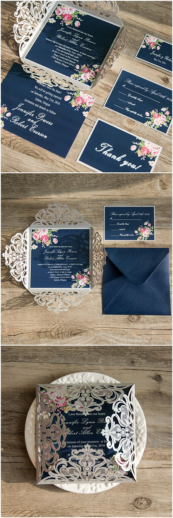 floral wedding invitations floral wedding invitations navy blue floral silver laser cut invitations EWWS as low as 2 09