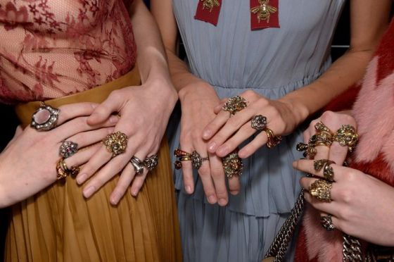 Mismatched rings backstage at Gucci AW15 MFW. See more here: http://www.dazeddigital.com/fashion/article/23825/1/gucci-aw15-livestream: Mismatched rings backstage at Gucci AW15 MFW. See more here: http://www.dazeddigital.com/fashion/article/23825/1/gucci-aw15-livestream