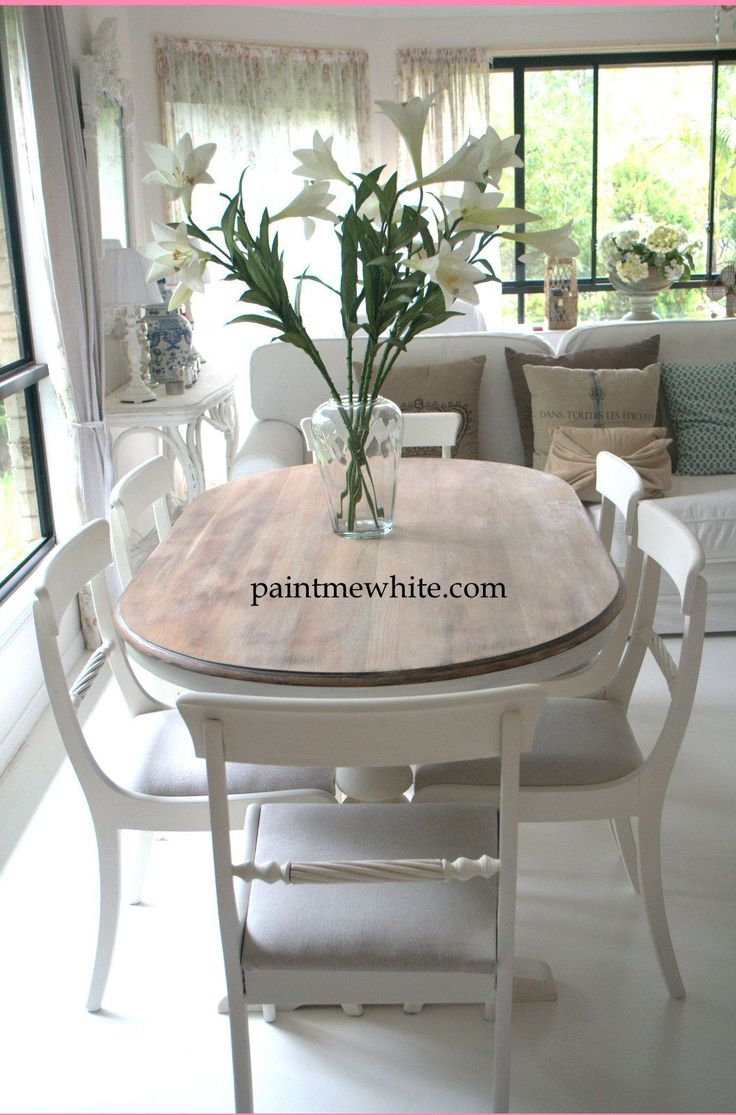 table tops and bases painting kitchen table Dining Table Makeover whitewash table top and white chalk paint the base and chairs