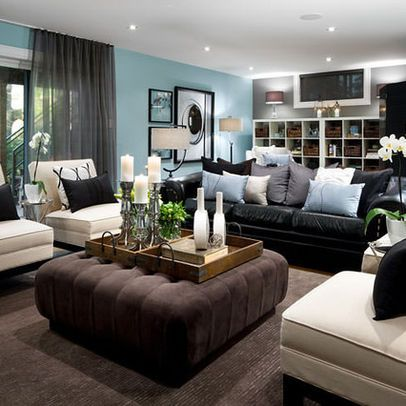 living room decorating ideas black leather couch furniture decor