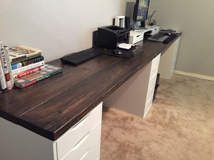 10 ft long wood office desk i used 2x8x10 pine and ikea drawers as