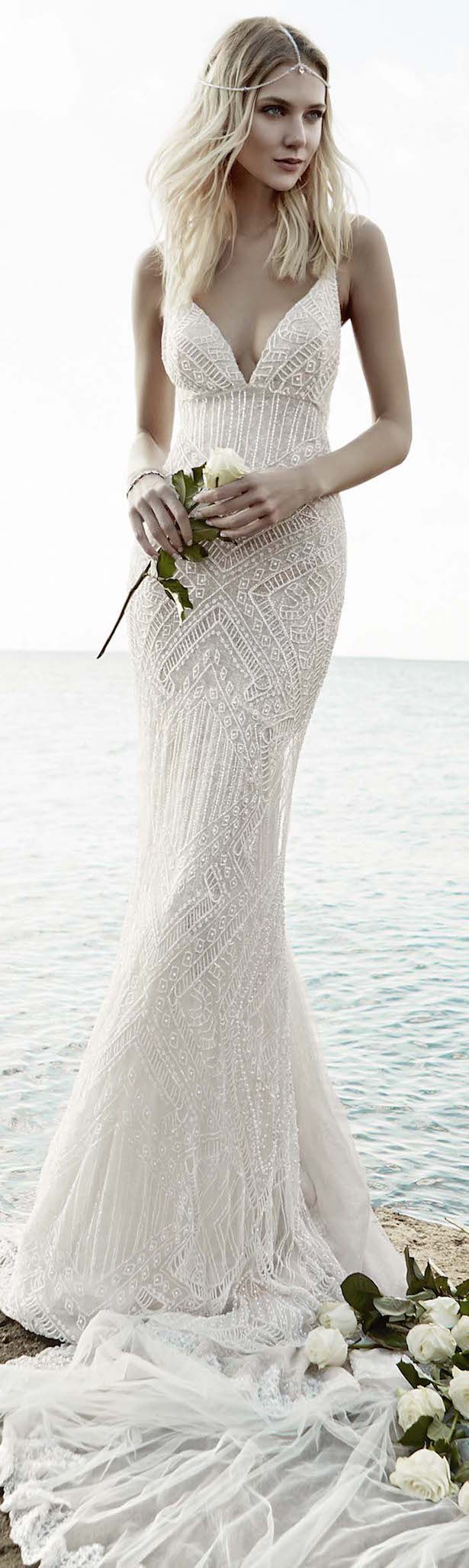 bohemian beach wedding cheap beach wedding dresses Victoria KyriaKides Bridal Fall Floral Constellations Vintage Lace Wedding DressesBeach