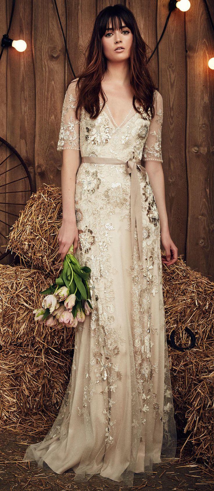 gypsy wedding dresses beige wedding dress Celadon Green Hits the Runway at Jenny Packham s Gypsy Inspired Spring Show Beige Wedding DressChampagne