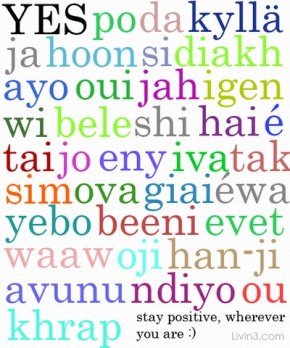 Yes in different languages, be positive wherever you are! Poster
