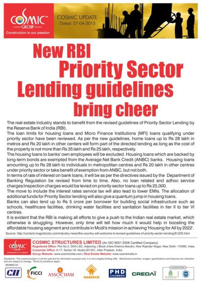 New RBI Priority Sector lending Guidelines bring cheer.. The real estate industry stands to ...