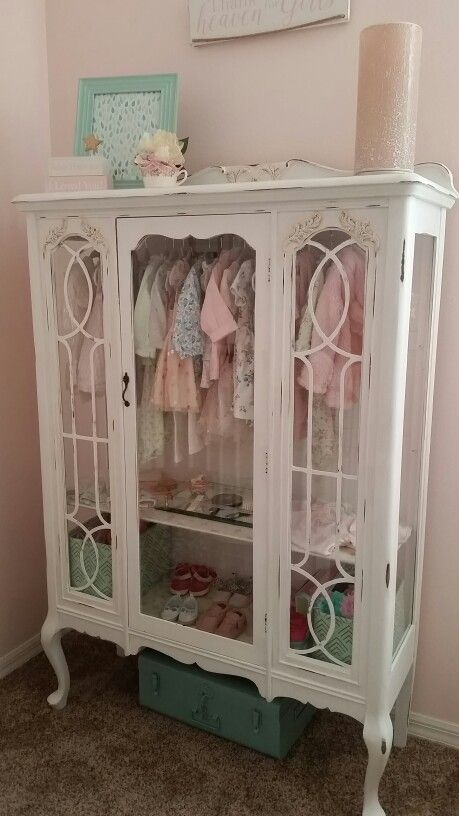diy repurposed china hutch displaying little girls clothesgreat addition to a bedroom furniture o