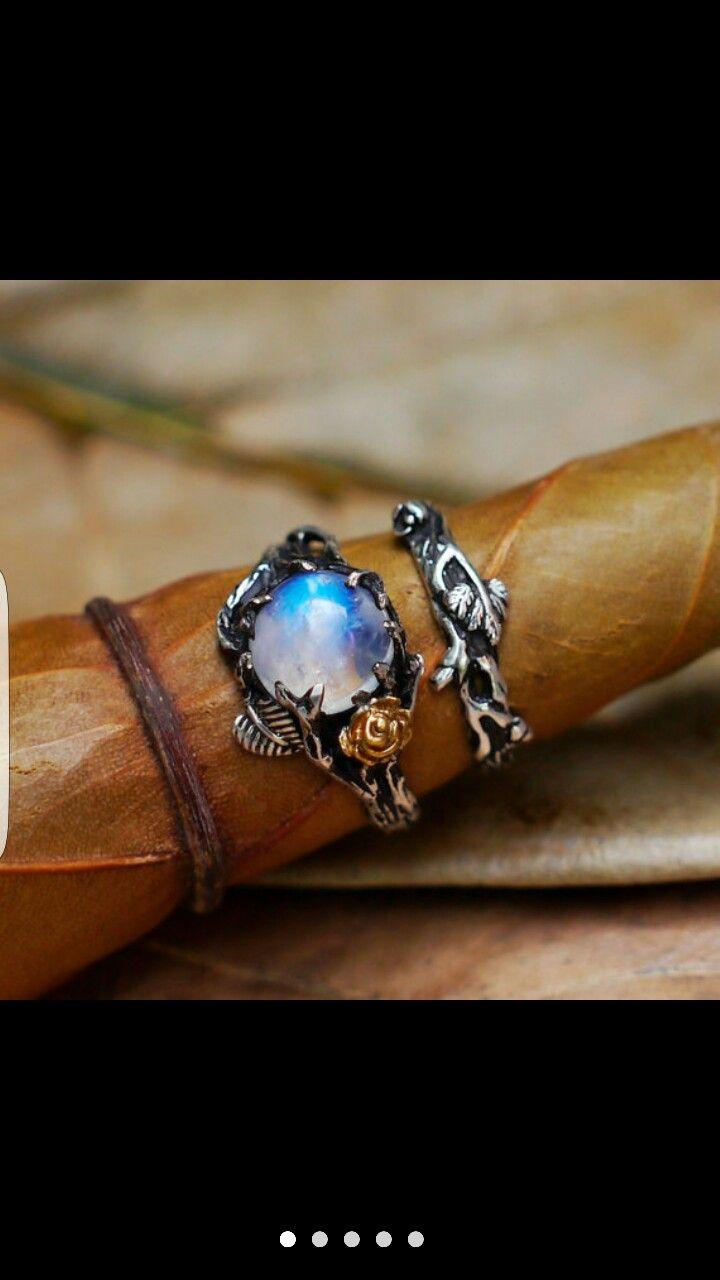 ring loves moonstone wedding ring sets Blacktreelab moonstone ring Wedding Ring SetOur