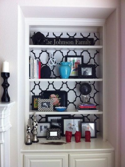 Before & After Bookshelf. Cover the back of a bookcase with fabric or wallpaper for a different ...