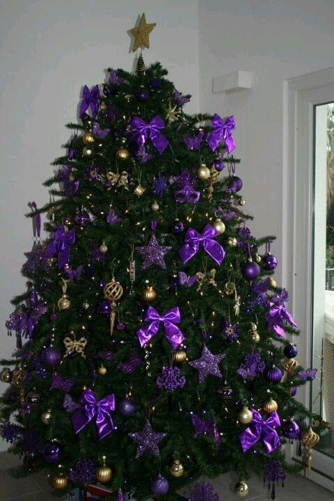purple and silver christmas tree decorations   My Web Value Christmas   Purple and gold Christmas Tree use silver bows instead of purple  bows