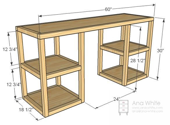 ana white build a parson tower desk free and easy diy project furniture office plan