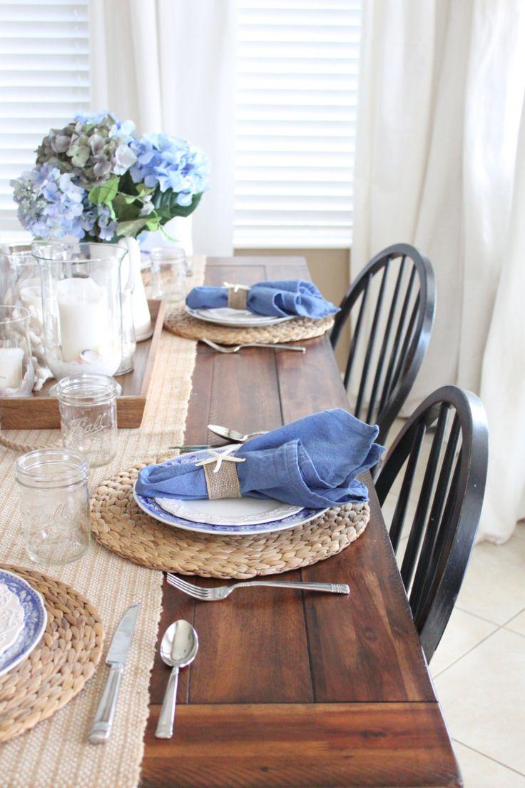 white kitchen table set white kitchen table White and Blue Coastal Table Starfish Cottage