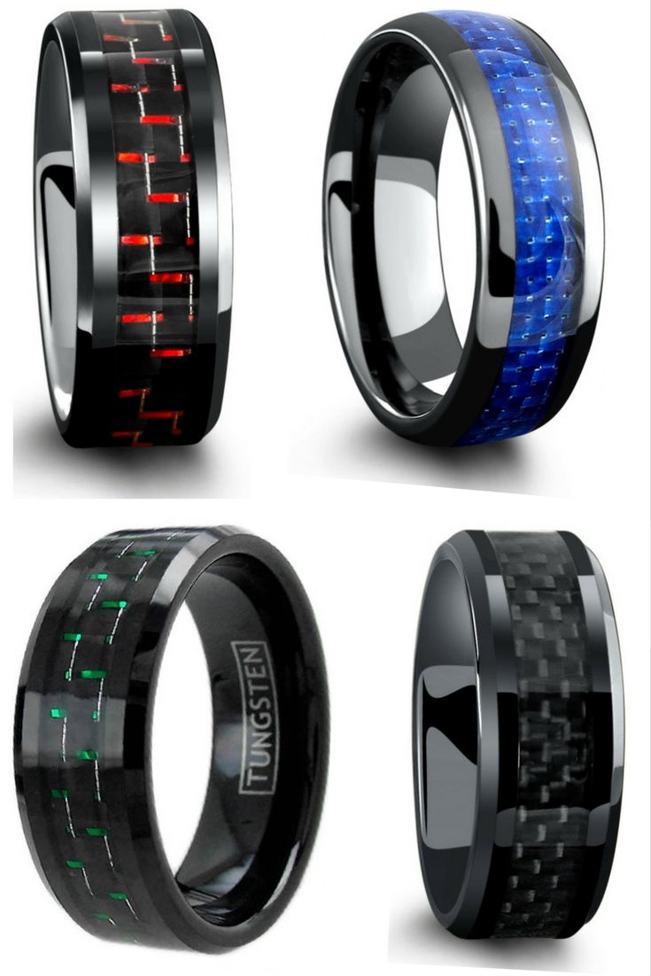 unique mens wedding bands unique mens wedding rings Mens wedding rings All have genuine carbon fiber inlays going through the center of the