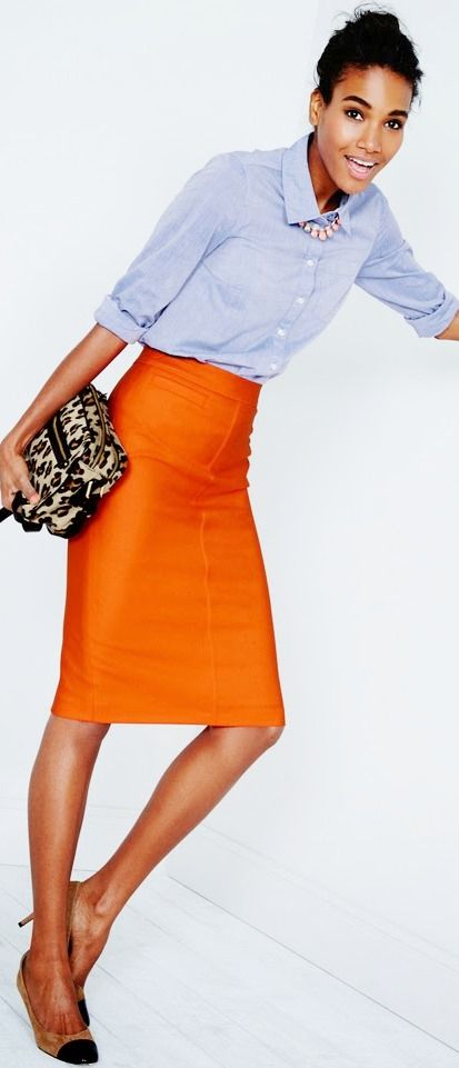 Orange pencil skirt, Boden