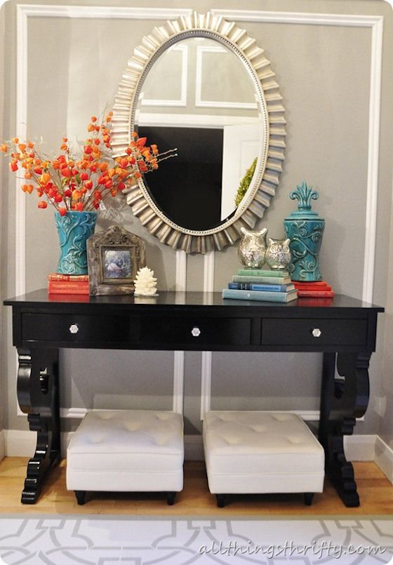 Love The Bright Pops Of Color In This Console Table Styling  Pinterest