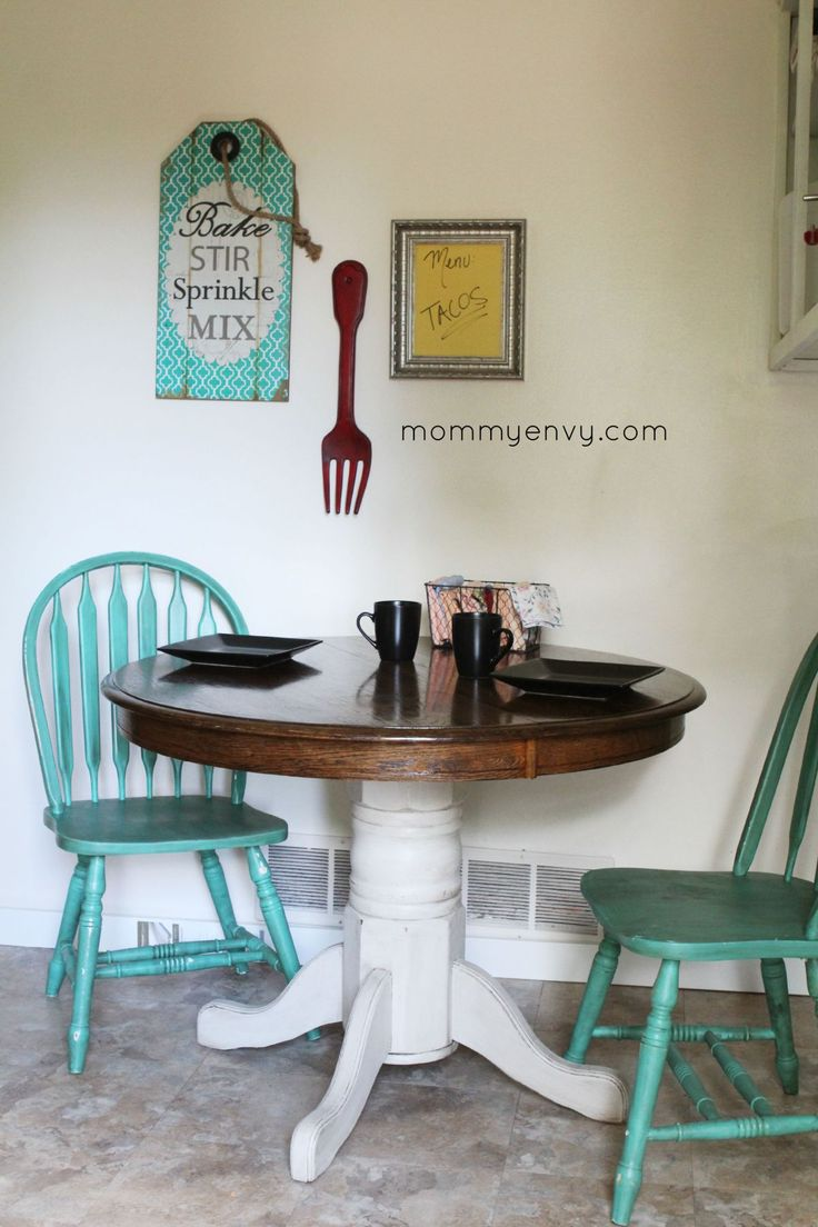 teal conservatory furniture teal kitchen chairs A chalk painted kitchen table Love the teal chairs as accents