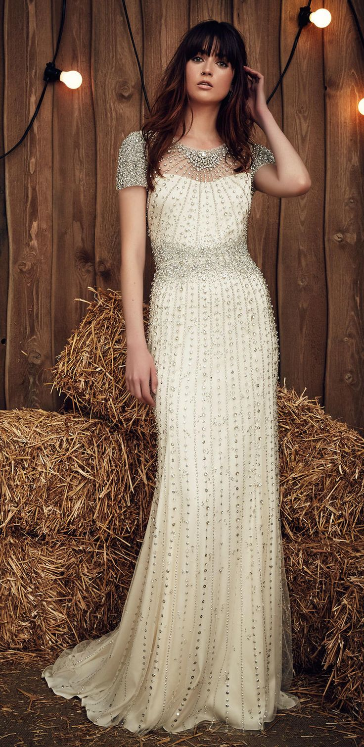 gypsy wedding dresses peasant style wedding dress Celadon Green Hits the Runway at Jenny Packham s Gypsy Inspired Spring Show Beaded Wedding DressesWedding